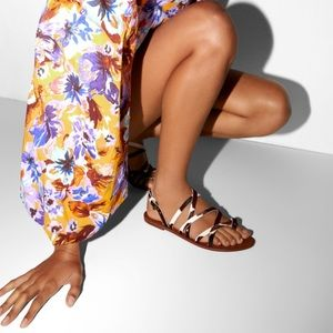 Zara natural leather flat sandals with straps